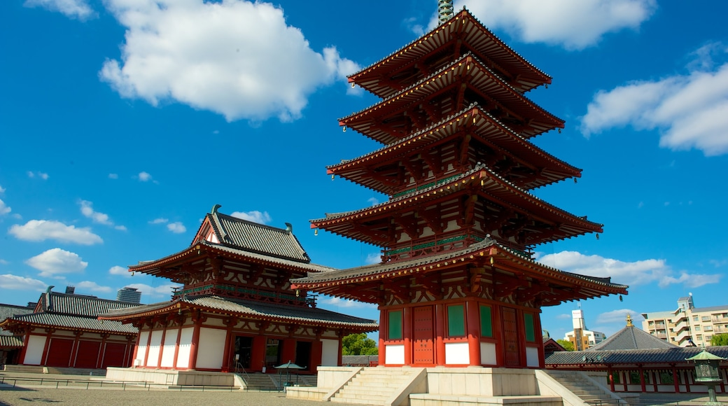 Shitennoji Temple featuring skyline, religious aspects and a temple or place of worship