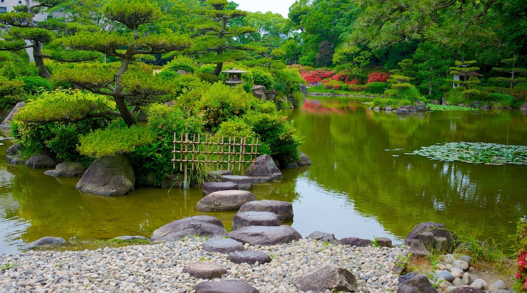Tennoji Park showing a pond and a garden
