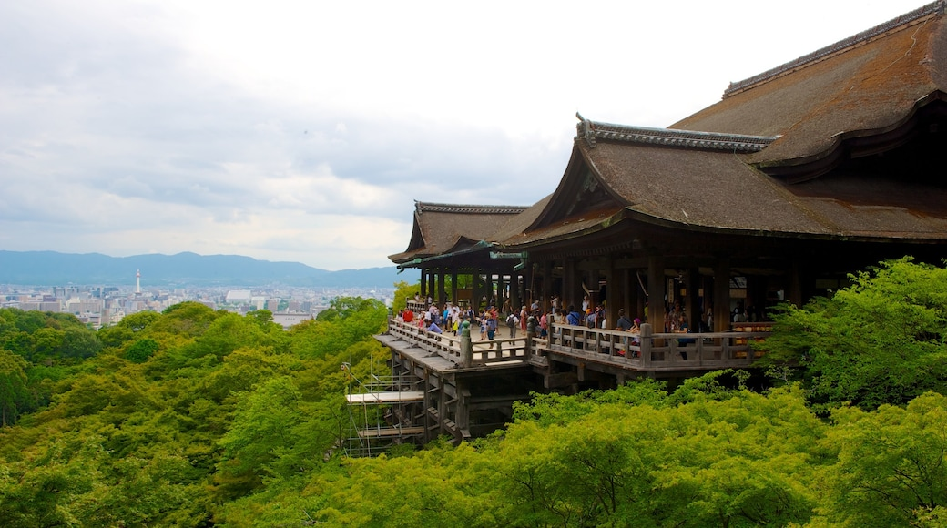 Kiyomizu Temple which includes religious elements, views and a temple or place of worship