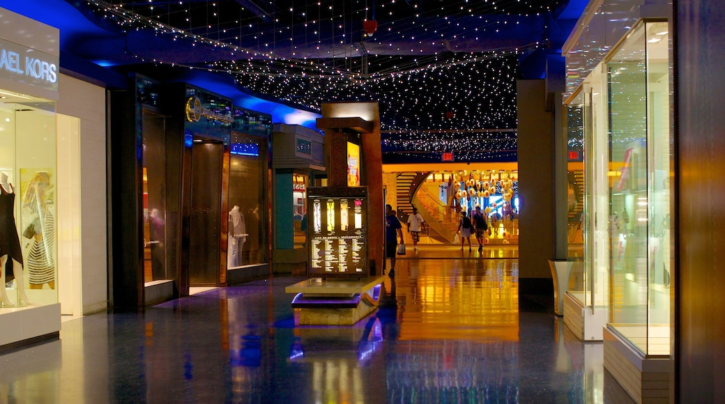 The Pier Shops at Caesars showing shopping and interior views