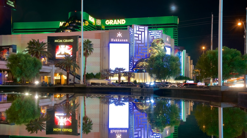 MGM Grand Casino showing a hotel, signage and night scenes