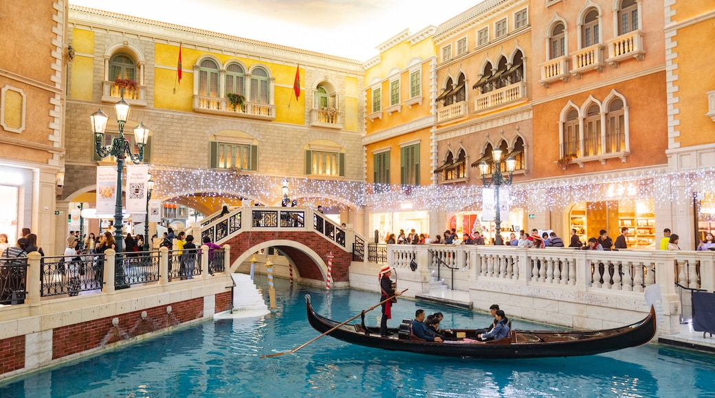 Venetian Macao Casino showing interior views, a river or creek and boating