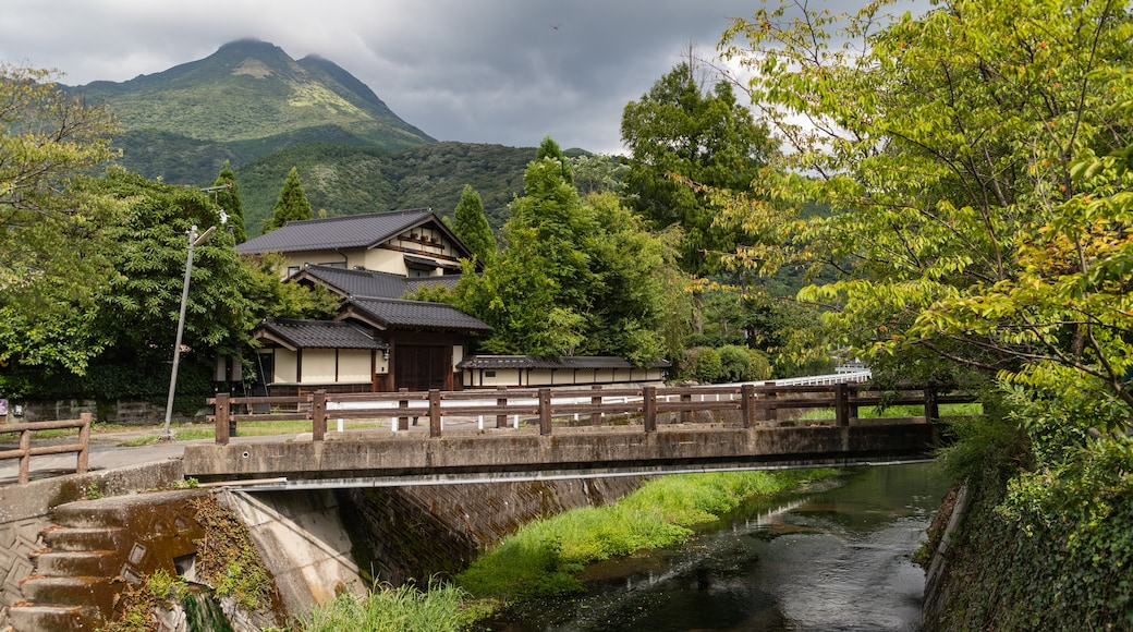 Yufuin Onsen showing a river or creek, a small town or village and a bridge