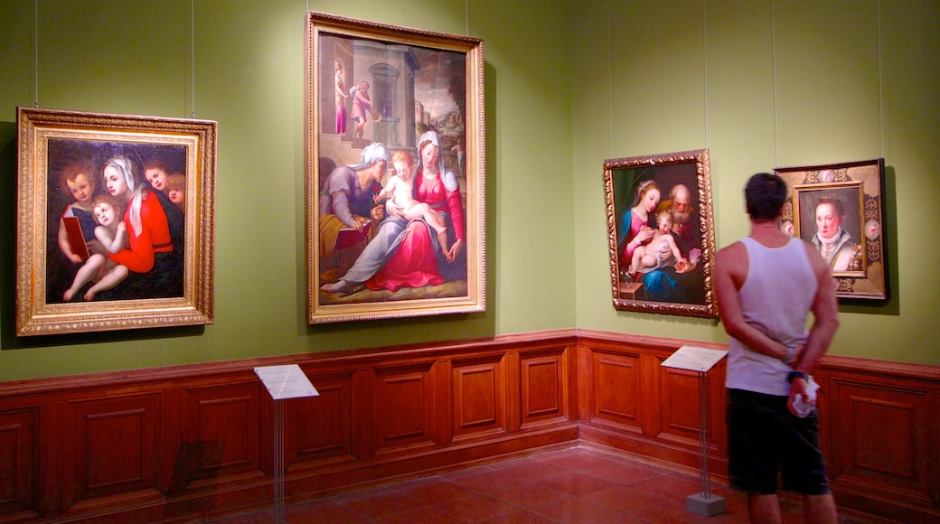Museum of Fine Arts which includes art and interior views as well as an individual male