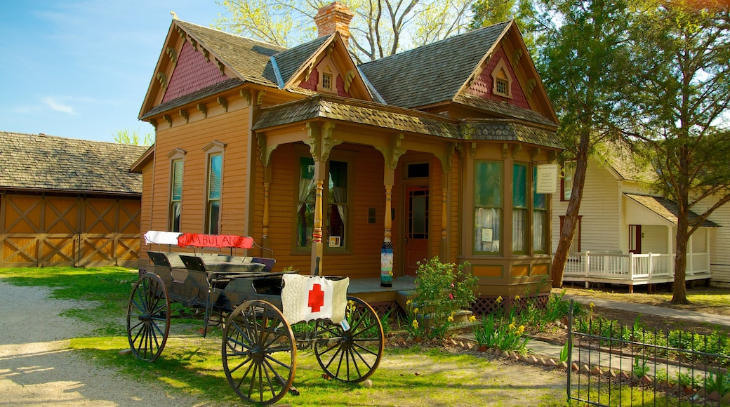 Dallas Heritage Village which includes heritage architecture, a small town or village and a house