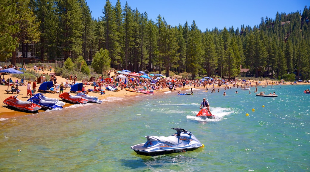 Zephyr Cove Beach featuring forests, jet skiing and a sandy beach