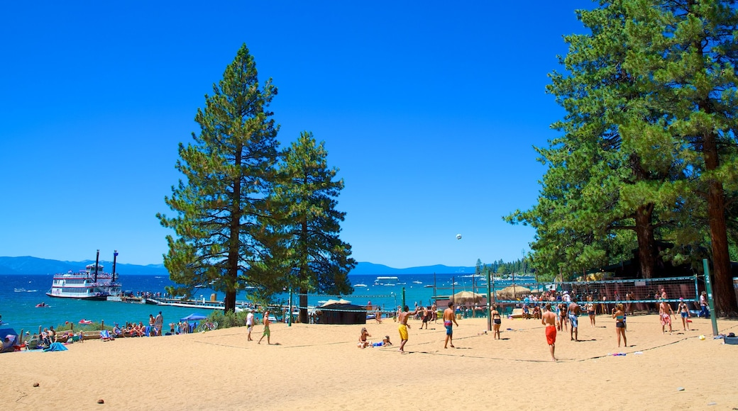 Zephyr Cove Beach featuring a sandy beach as well as a large group of people
