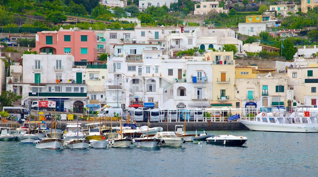 Capri showing boating, a bay or harbour and a coastal town