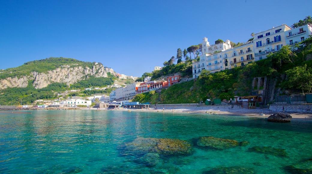 Isla Capri que incluye una playa y una localidad costera