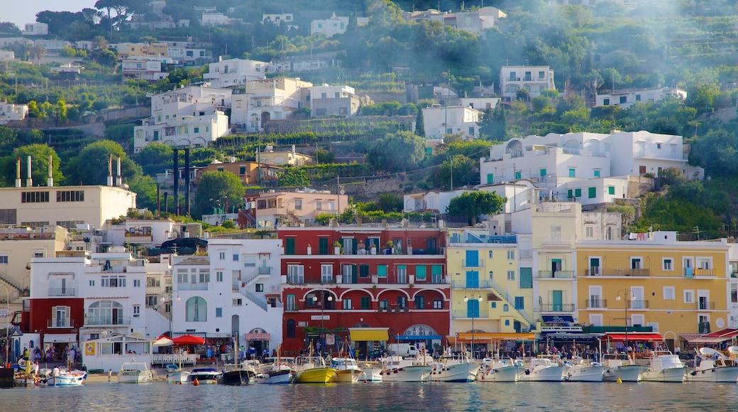Capri Island which includes a marina, boating and a coastal town