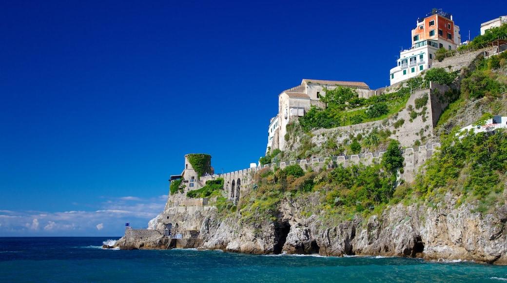 Amalfi Coast which includes landscape views, a coastal town and rugged coastline