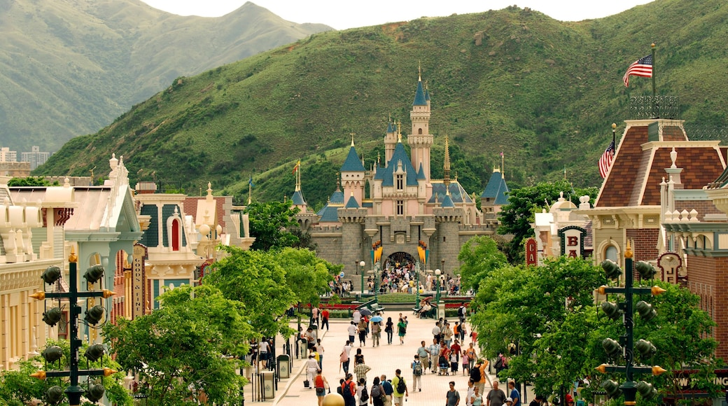 Hong Kong Disneyland showing chateau or palace, rides and mountains