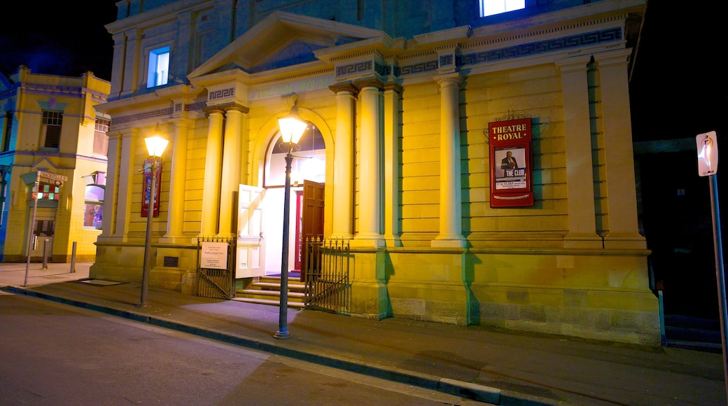 Theatre Royal which includes night scenes, a city and street scenes