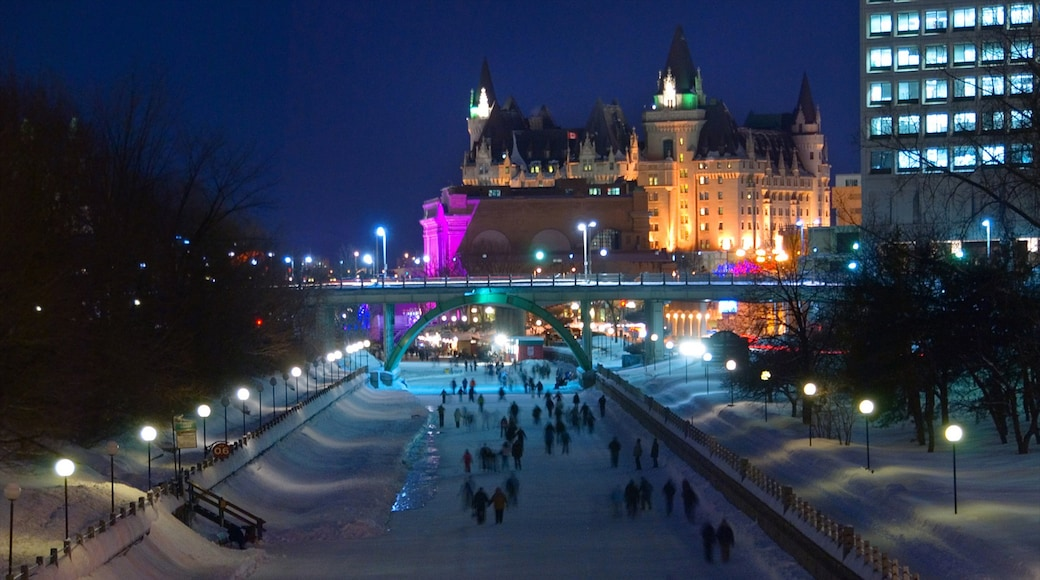 Rideau Canal featuring a bridge, a city and nightlife
