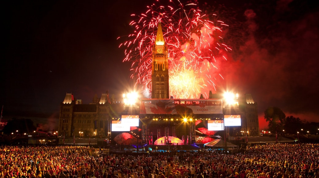 Parliament Hill showing performance art, nightlife and night scenes