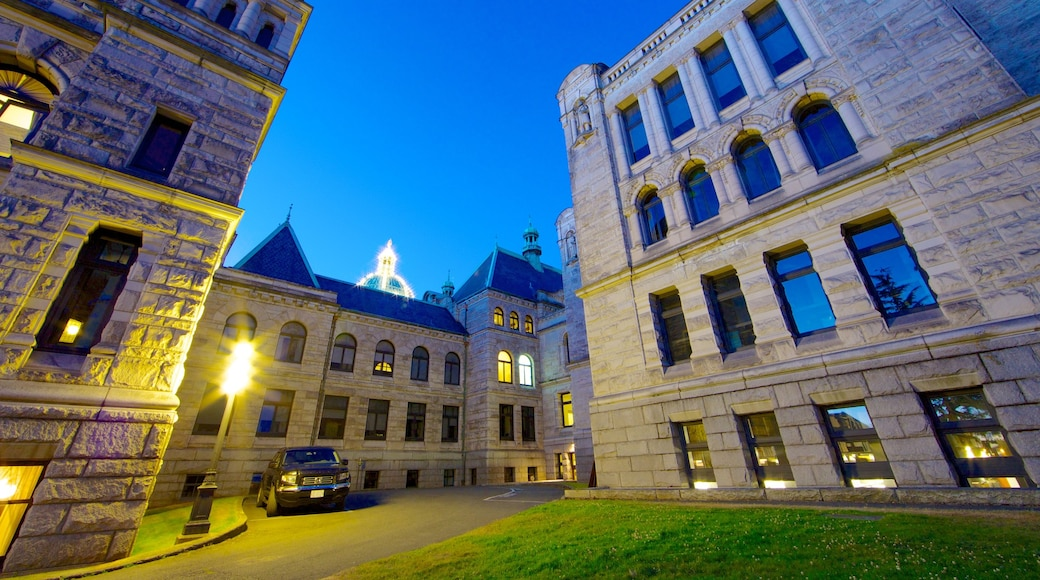 British Columbia Parliament Building showing heritage architecture and night scenes