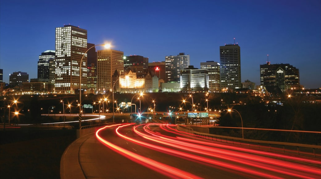 Edmonton which includes a city and night scenes