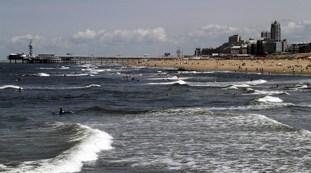 Spiaggia di Scheveningen che include nuoto, spiaggia e vista della costa