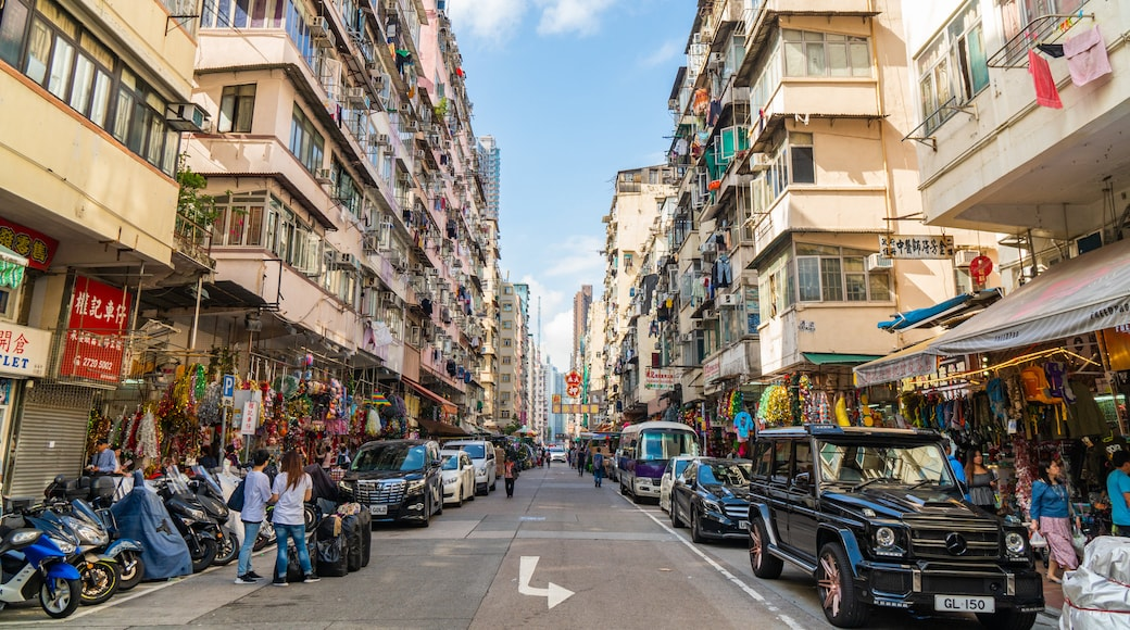 Sham Shui Po which includes street scenes and a city