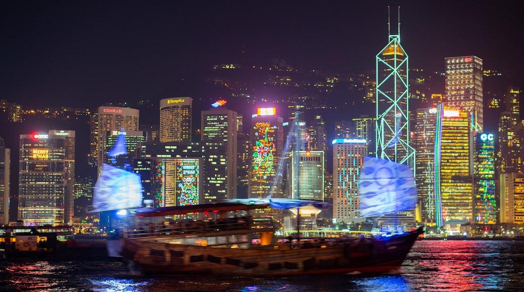 Hong Kong SAR showing a bay or harbor, night scenes and a city