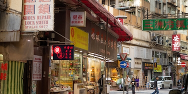 Sheung Wan featuring street scenes and a city