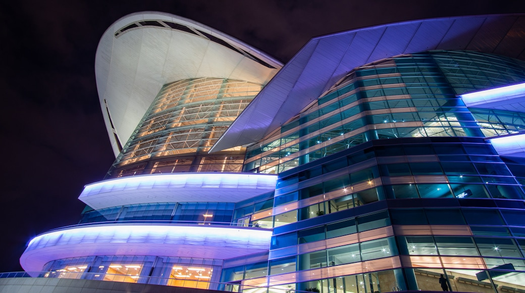 Hong Kong Convention and Exhibition Centre showing night scenes and modern architecture