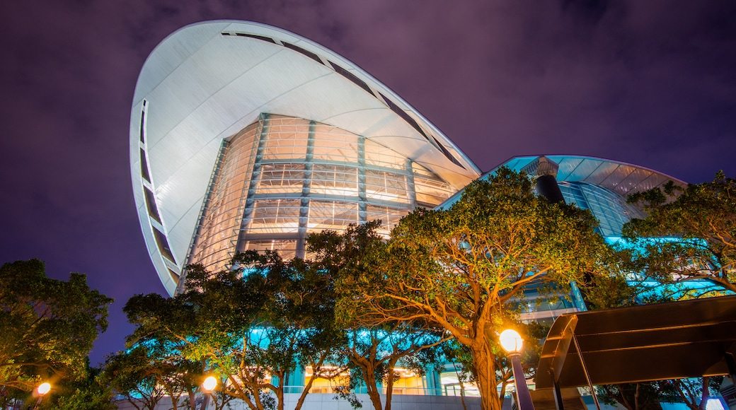 Hong Kong Convention and Exhibition Centre showing modern architecture and night scenes