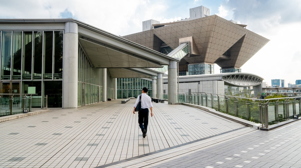 Tokyo Big Sight showing modern architecture and street scenes as well as an individual male