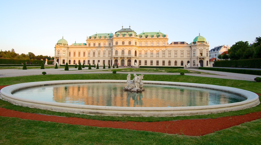 Belvedere featuring a castle, a park and a pond