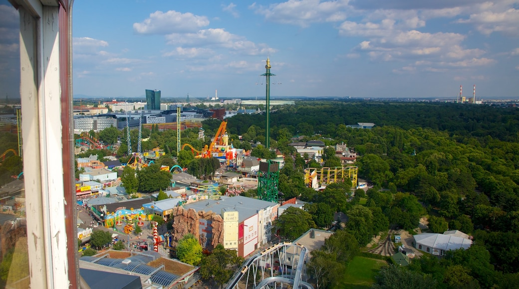 Wiener Prater which includes rides, skyline and a city