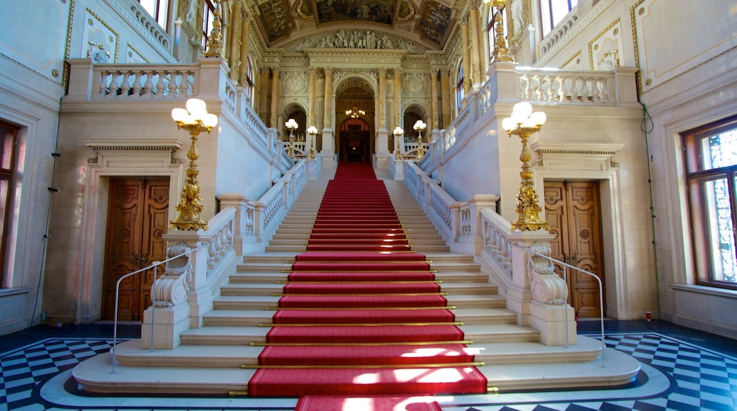 Burgtheater which includes heritage architecture, interior views and chateau or palace
