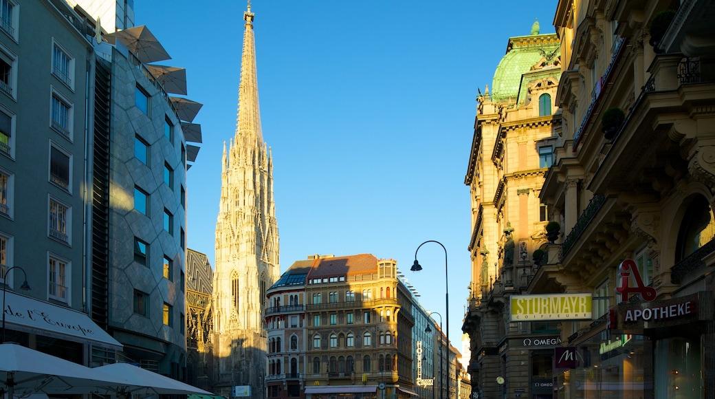Stephansplatz mit einem Stadt, religiöse Aspekte und Geschichtliches