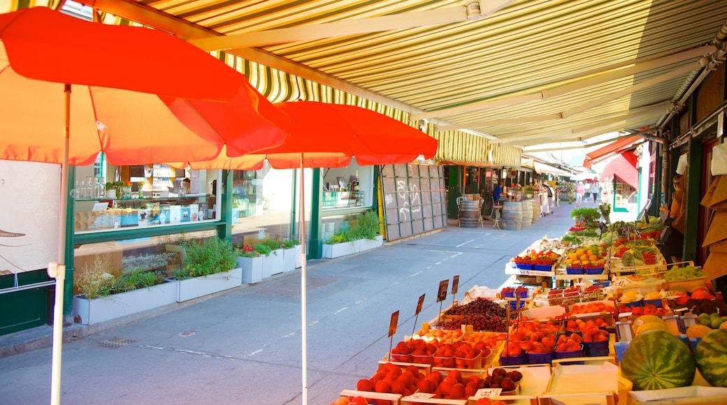 Naschmarkt welches beinhaltet Märkte, Speisen und Stadt
