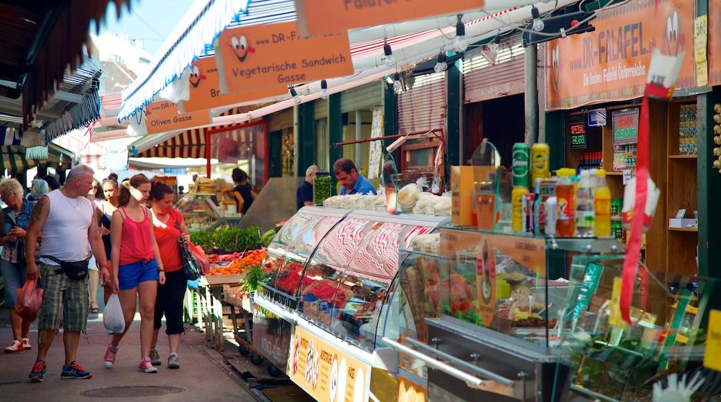 Naschmarkt mit einem Straßenszenen, Märkte und Speisen