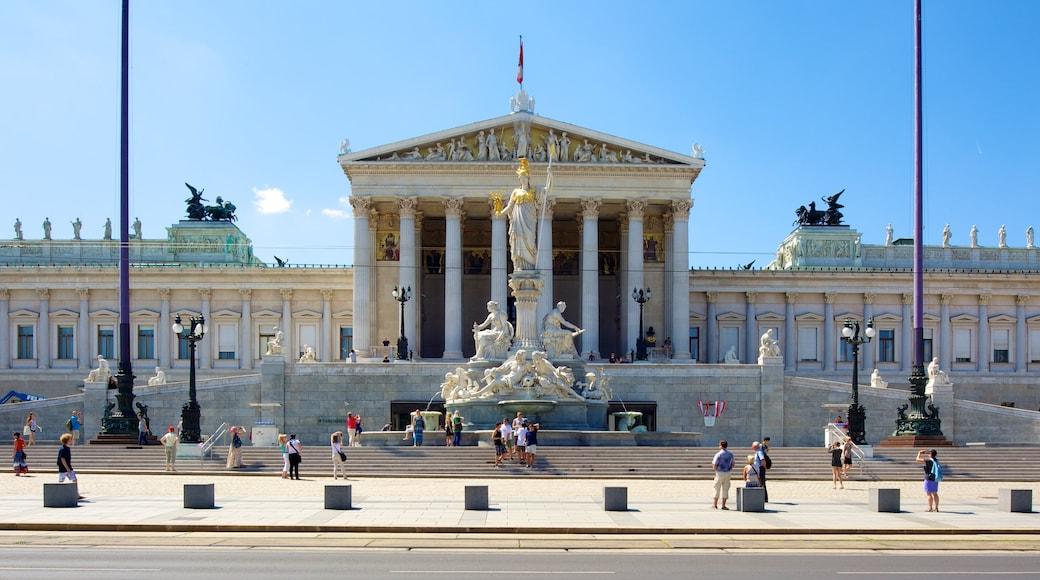 Oostenrijks parlementsgebouw bevat een overheidsgebouw, een stad en een monument