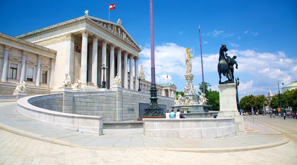 Oostenrijks parlementsgebouw bevat een overheidsgebouw, straten en historische architectuur