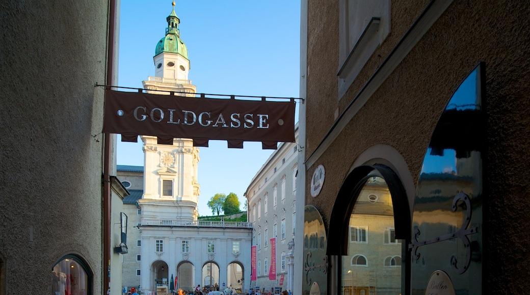 Salzburger Dom welches beinhaltet Stadt, Beschilderung und Kirche oder Kathedrale