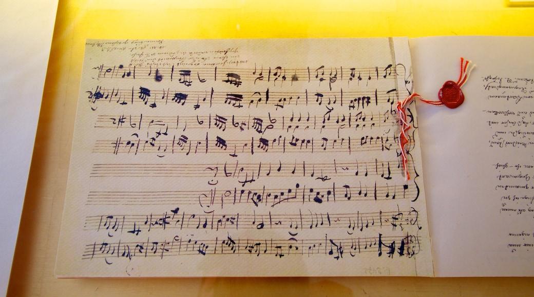 Mozarts Geburtshaus welches beinhaltet Musik und Beschilderung