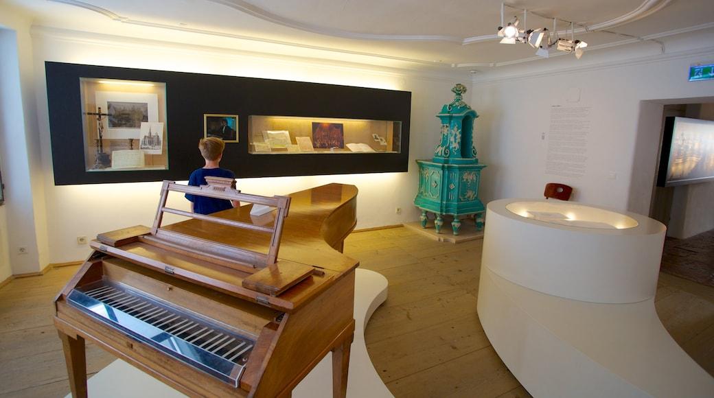 Mozarts Geburtshaus das einen Musik und Innenansichten