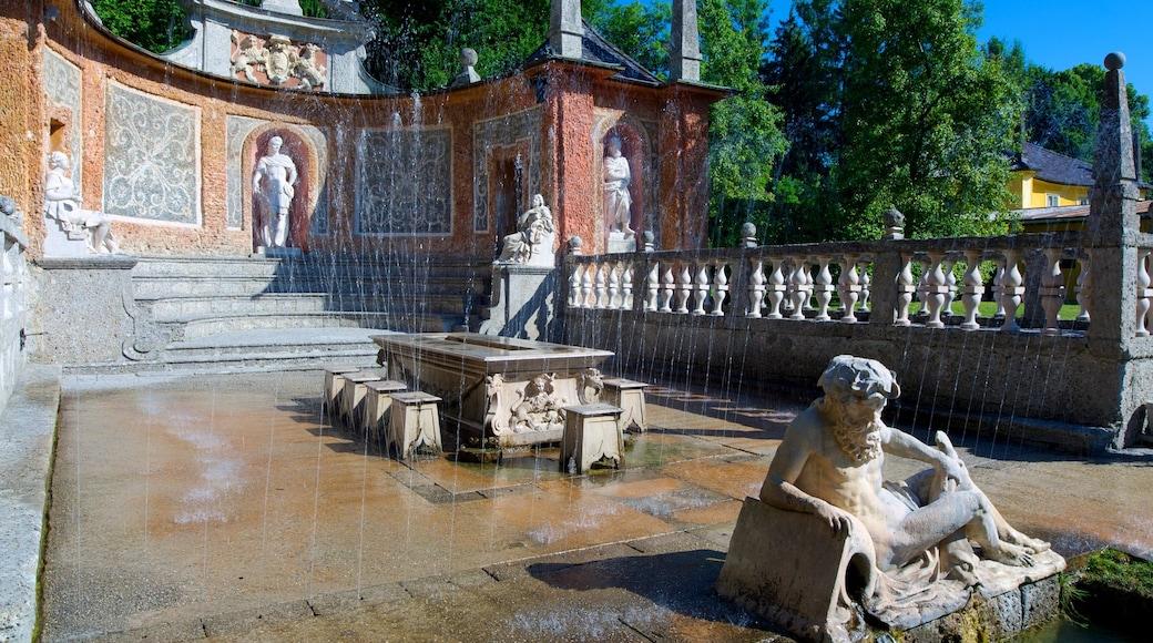 Schloss Hellbrunn welches beinhaltet Statue oder Skulptur, Springbrunnen und historische Architektur