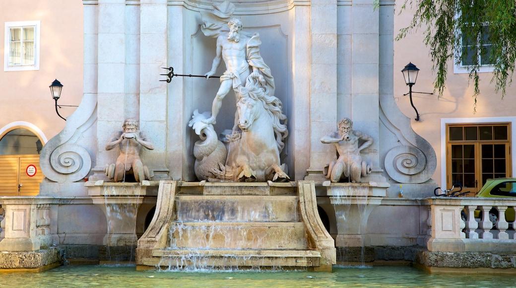 Salzburg welches beinhaltet Springbrunnen, Statue oder Skulptur und historische Architektur