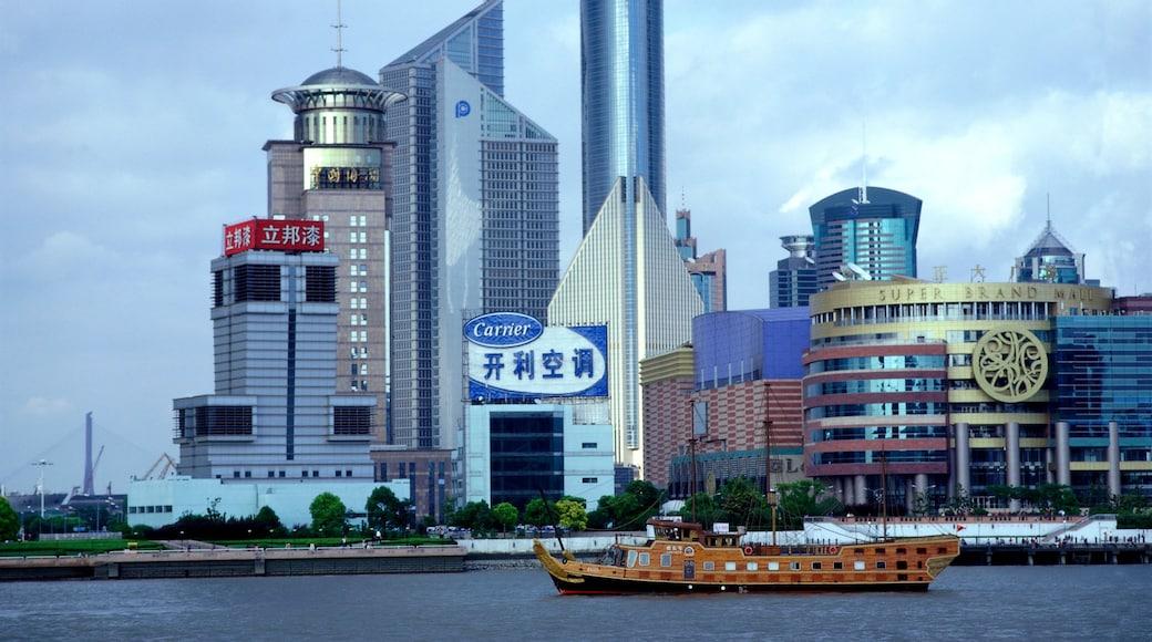 上海 其中包括 划船, 指示牌 和 核心商業區