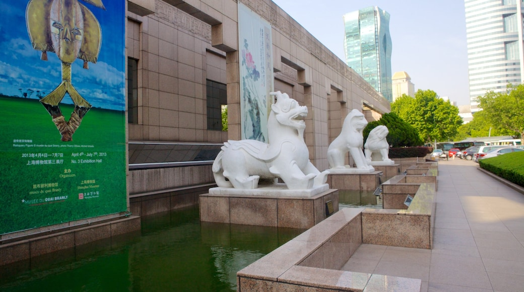 Shanghai Museum showing a city and a statue or sculpture