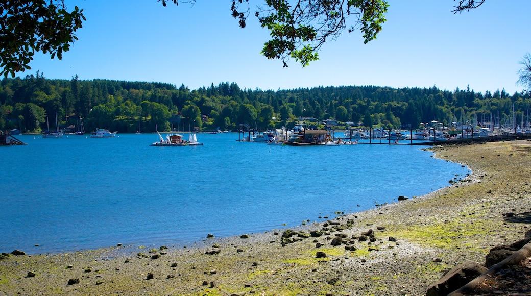 Bainbridge Island featuring a pebble beach, a river or creek and general coastal views