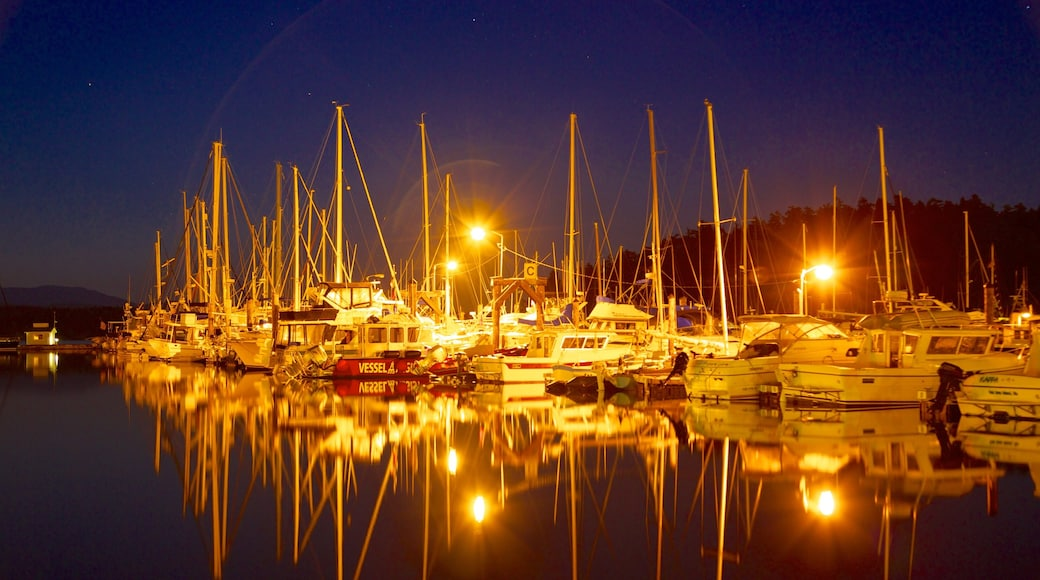 San Juan Island showing night scenes, a marina and sailing