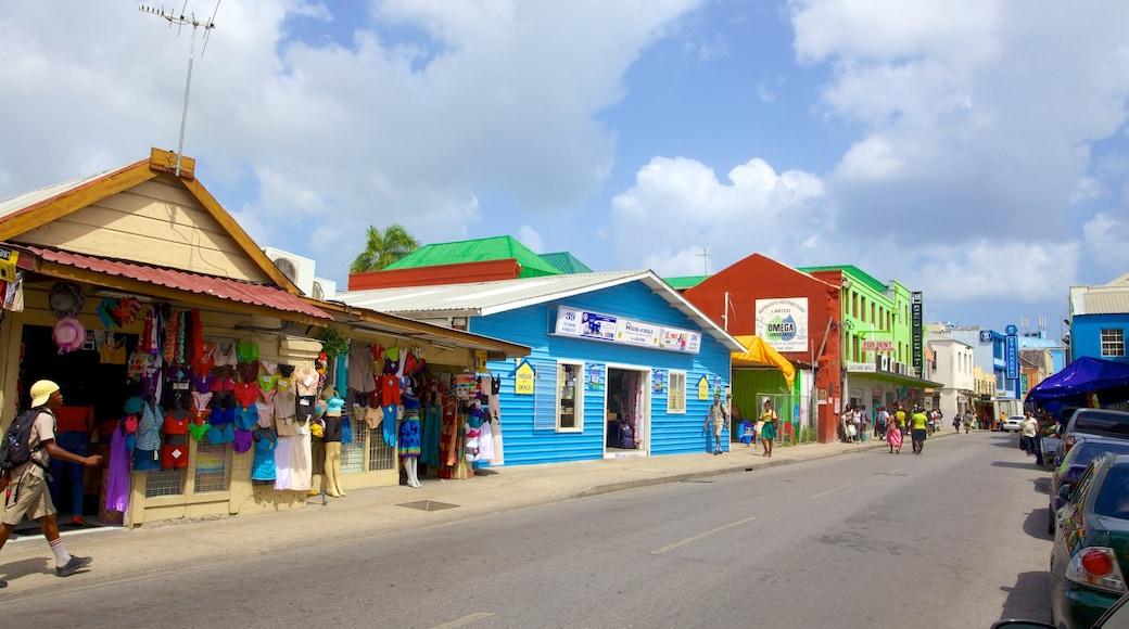 Bridgetown which includes street scenes