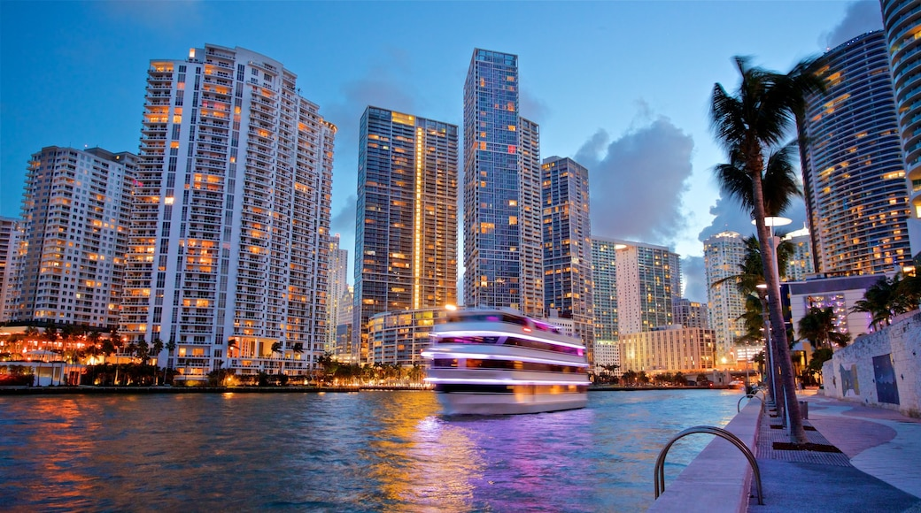 Miami showing a city, a bay or harbor and night scenes