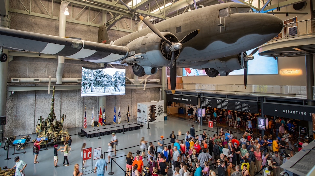 National World War II Museum featuring interior views as well as a large group of people