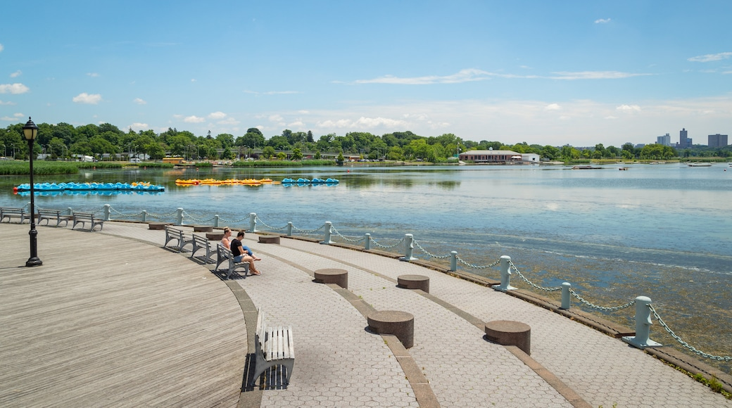 Flushing Meadows-Corona Park which includes a lake or waterhole as well as a couple
