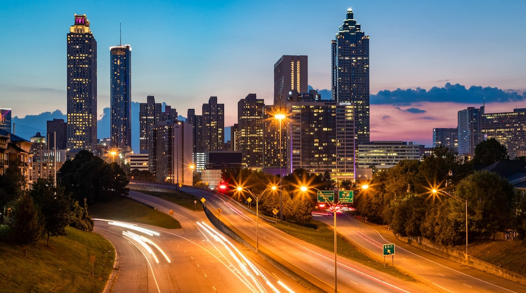 Downtown Atlanta which includes landscape views, night scenes and a sunset